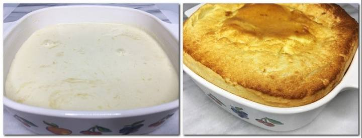 Photo 5: Batter poured on top of prunes in a baking dish Photo 6: Baked Far Breton in a baking dish