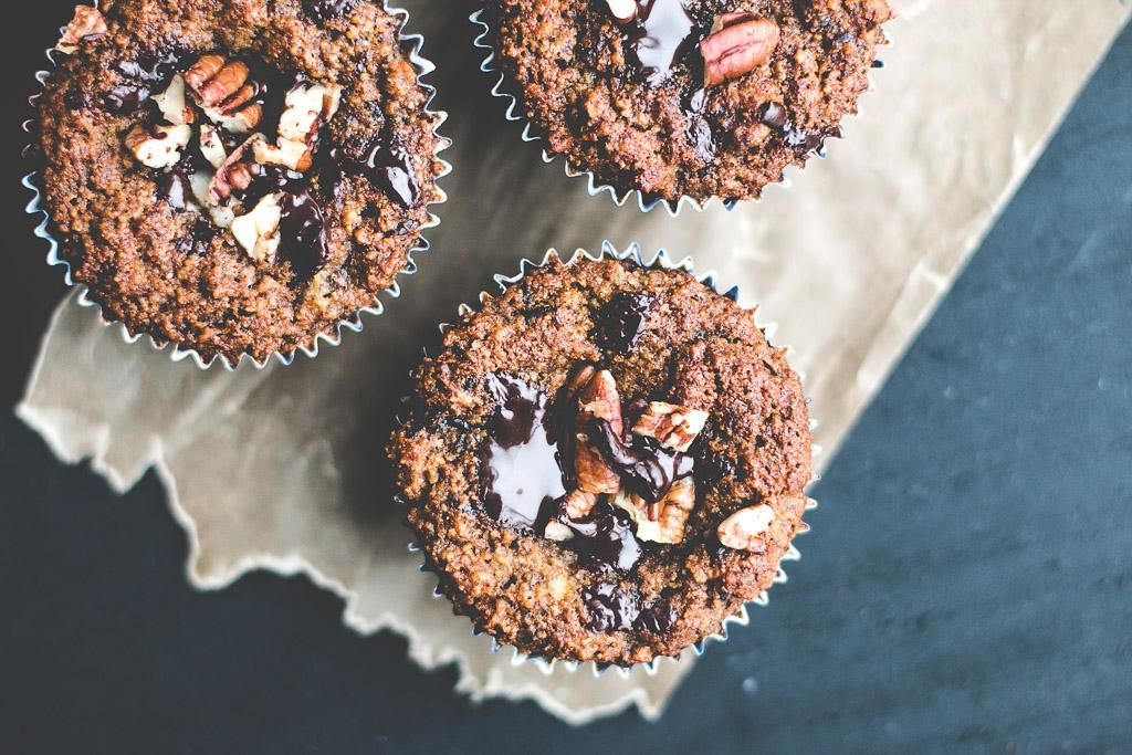 chocolate chip banana pecan muffins-8