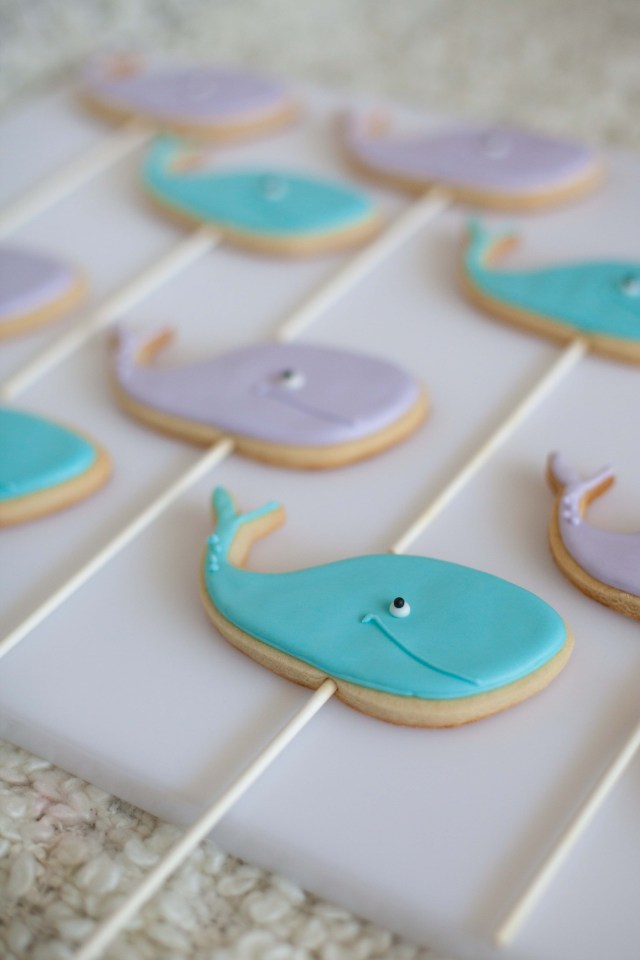 Whale Sugar Cookies on sticks