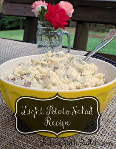This Light Potato Salad Recipe is delicious. This recipe is lighten up with greek yogurt and is perfect for any summer picnic! Great side for any Memorial Day, Labor Day, or Fourth of July cookout.