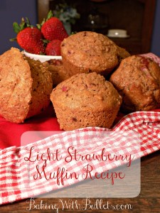 This Strawberry Muffin receipe is made with fresh strawberries and greek yogurt for a true sweet, strawberry taste. These deliciously low fat muffins are a quick fix for a summer morning breakfast.