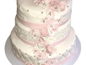 bruidstaart rond wit