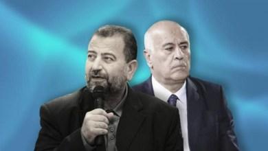 صورة الرجوب والعاروري خلال مؤتمر صحفي مشترك : سنجمد الخلافات لمواجهة الضم موحدين