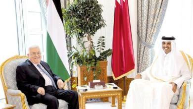 صورة بدء اجتماع الرئيس محمود عباس وأمير قطر الشيخ تميم في الدوحة
