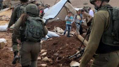صورة قوات الاحتلال تداهم خربة حمصة وتصور خيام المواطنين