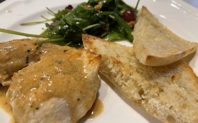 Dijon Chicken with Balsamic Greens