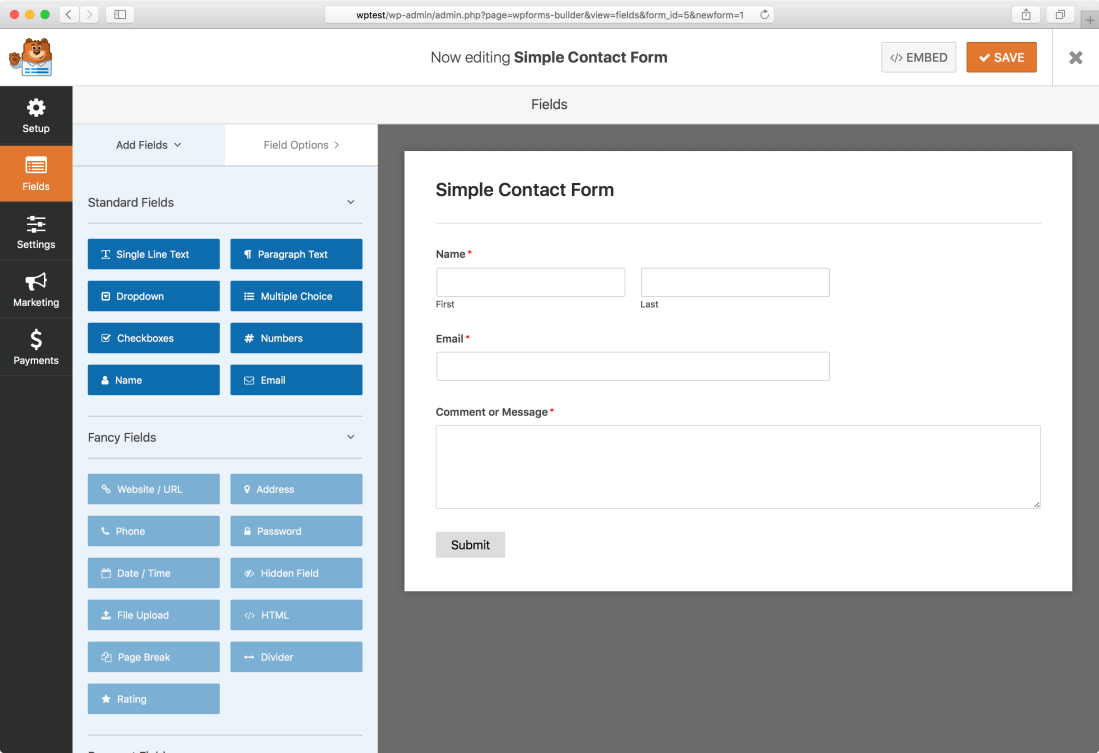 WPforms Interface