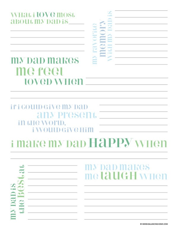 Father's Day Printable Questionnaire - Balancing Home With ...
