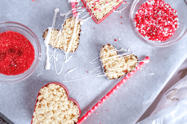 No Bake Rice Krispie Hearts- Balancing Pieces