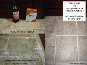 Baking soda, Hydrogen Peroxide grout cleaner