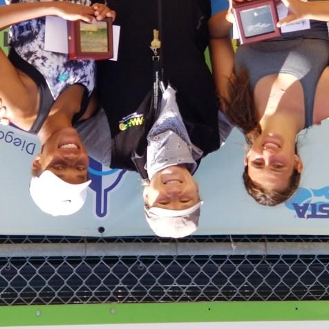 Women's Gold Ball Winner - Garviella Smith (left), Tournament Director Colleen Clery Ferrell (center), Silver Ball - Casie Wooten (right)