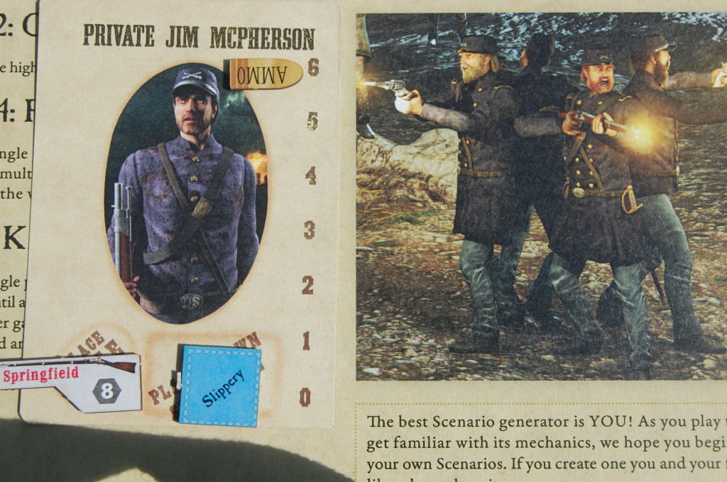 Scheda del personaggio Con abilità speciale e fucile e Colt pronti a fare fuoco