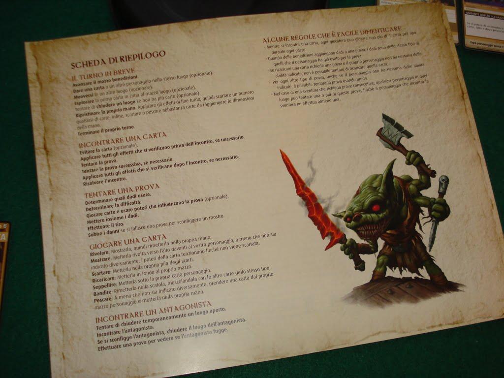 Il retro del manuale è un utile riassunto delle regole e delle sequenze di gioco principali.