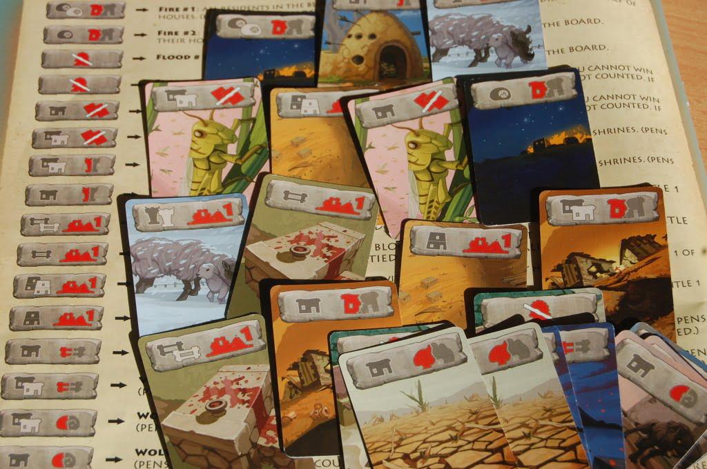 Carte catastrofe: sullo sfondo la pagina del manuale che aiuta la decodifica delle icone: l'immediatezza non è la forza del gioco