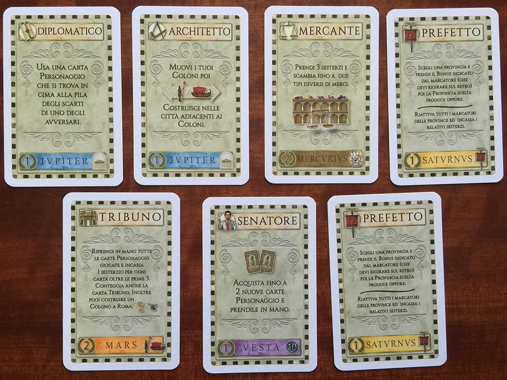 Le 7 carte che tutti i giocatori ricevono all'inizio della partita.