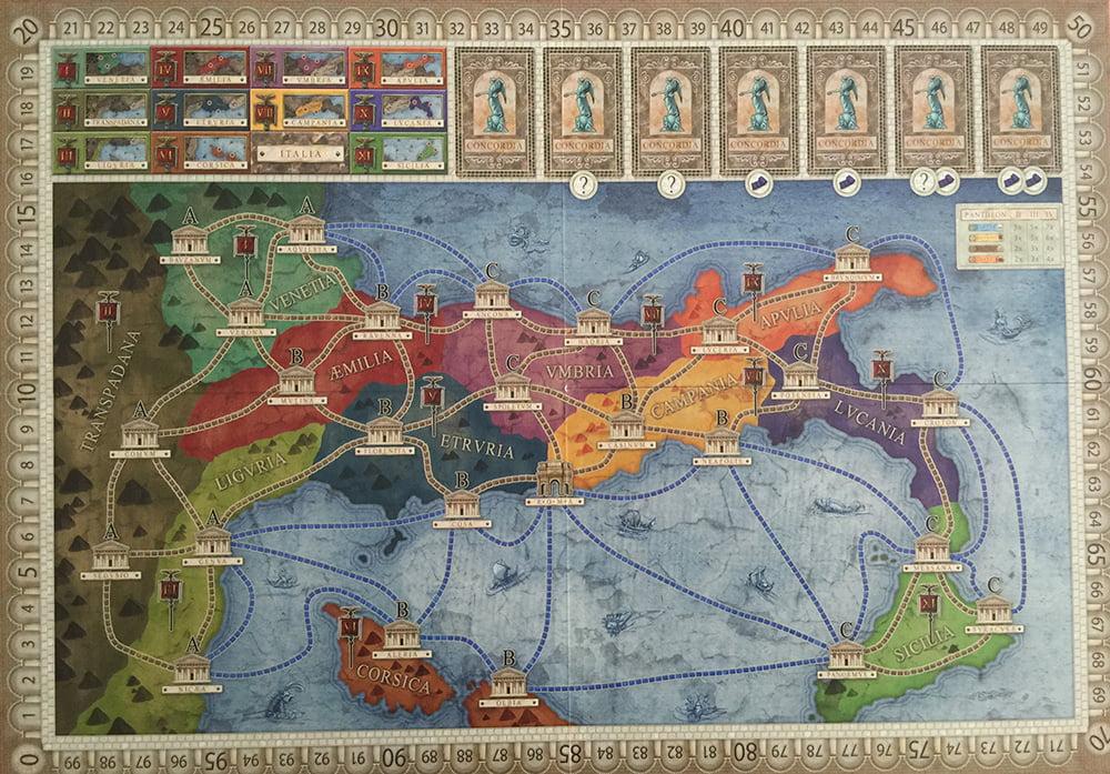 Il lato del tabellone di gioco con raffigurato lo stivale in orizzontale.