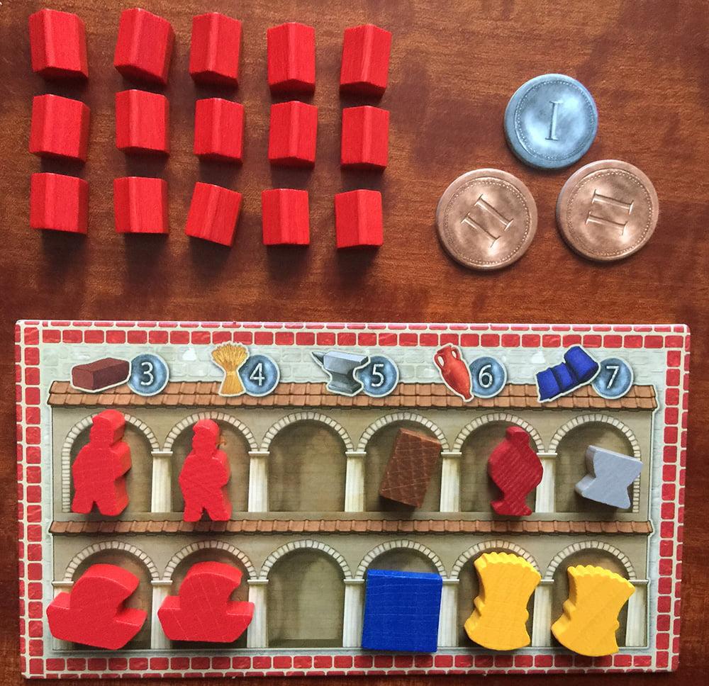 Un magazzino pronto per la partita: gli spazi disponibili per le nuove merci sono solo 2, bisognerà quindi gestirli con cura.