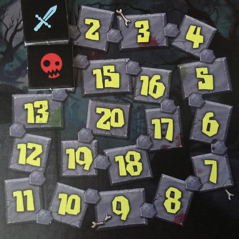 La plancia segnaturni è pronta: la spada azzurra indica il turno degli eroi, mentre il teschio rosso rappresenta la fine della missione.