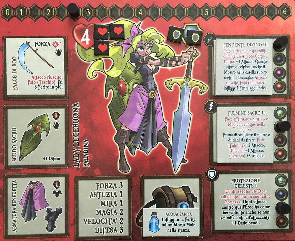 Lady Lucebuona ha preferito risparmiare 2 dei suoi 6 Dadi Azione per difendersi da Lazzarone.
