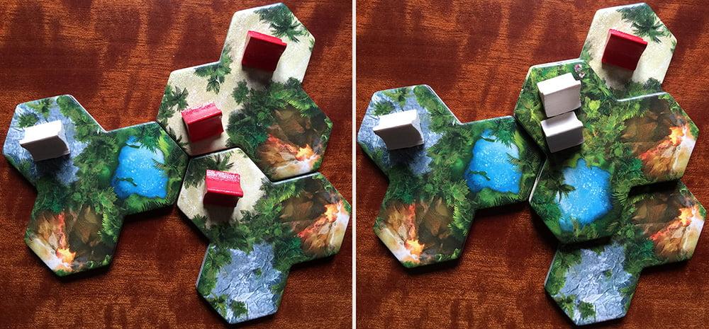 Prima (a sinistra) e dopo (a destra) un'eruzione provocata dal giocatore bianco: notate le due capanne rosse, che sono state rase al suolo per fare posto a una coppia di capanne bianche al secondo livello.