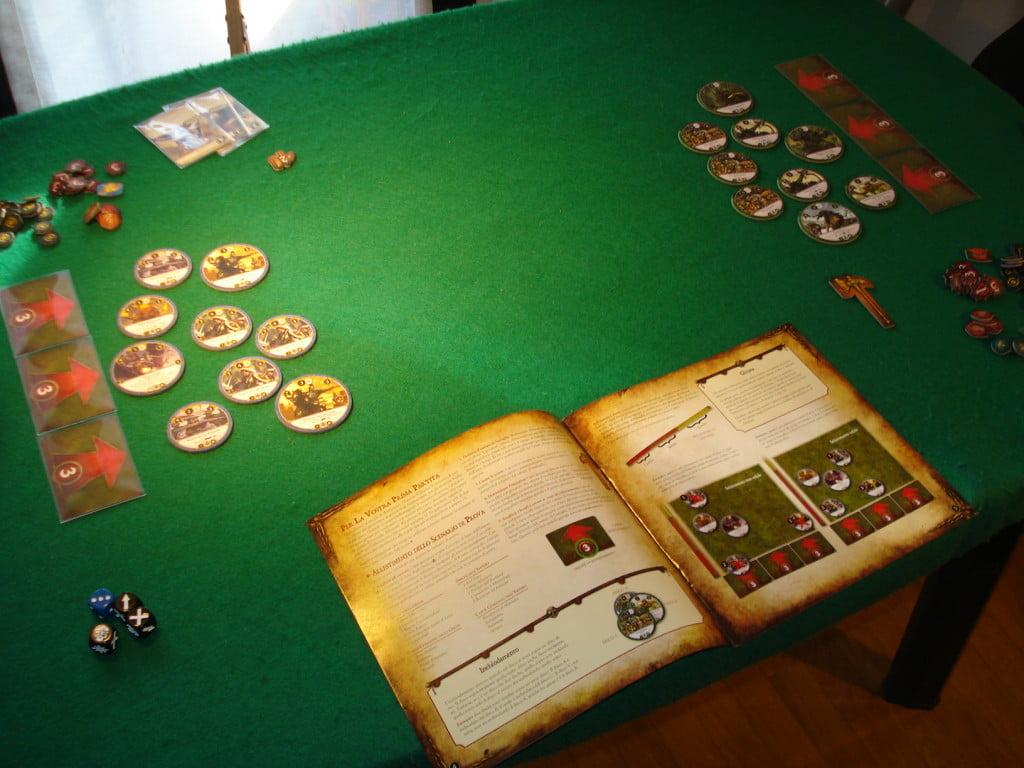 Il manuale include il setup di una partita di prova, utile per iniziare a giocare in fretta.