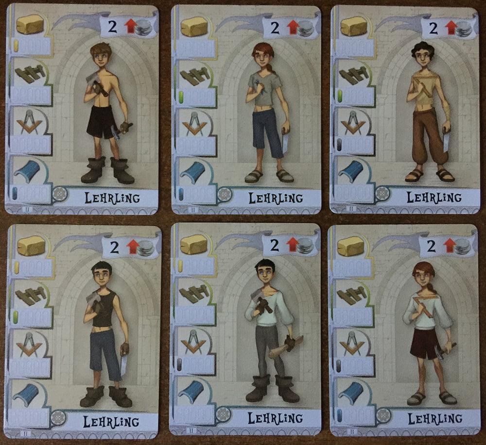 6 degli Apprendisti che ogni giocatore può pescare all'inizio della partita: costano poco, ma... sanno fare anche poco!