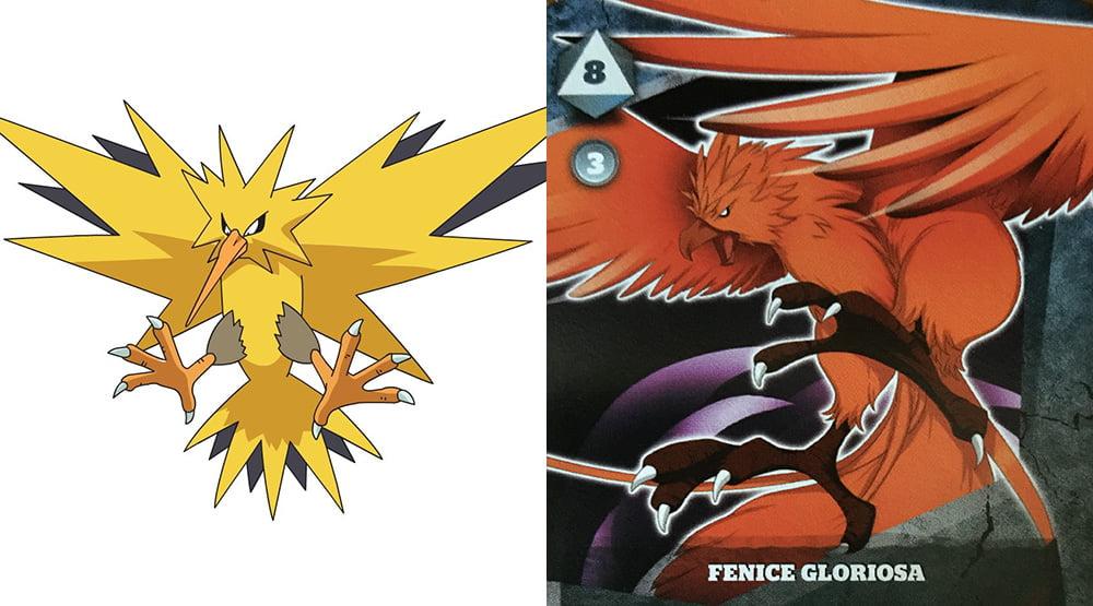 Il pokemon Zapdos a sinistra e l'eroe Fenice Gloriosa a destra.
