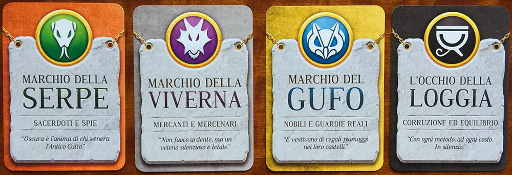 Le carte che rappresentano le 4 fazioni in gioco.