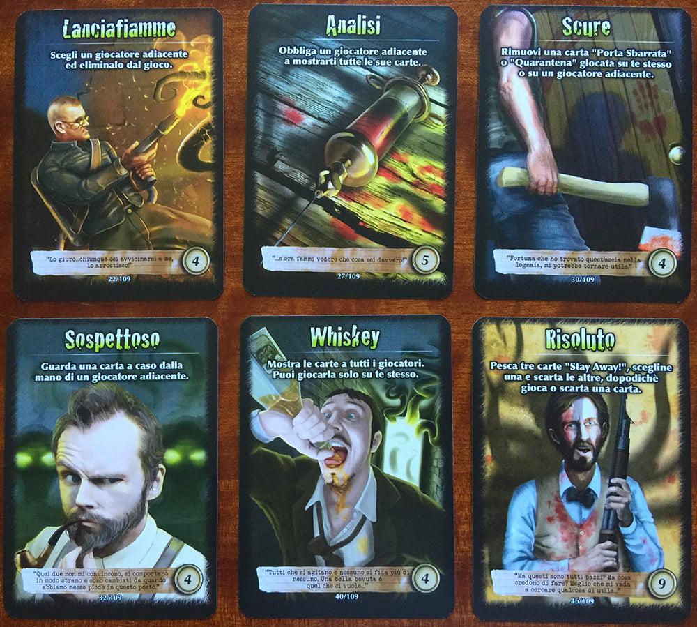 Esempi di carte Stay Away!: non è obbligatorio giocarle e hanno effetti molto diversi, che vanno dall'eliminazione di un giocatore a