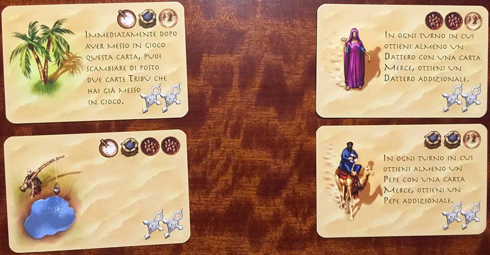 """Le due carte tribù a sinistra sono indubbiamente meno """"potenti"""" di quelle a destra."""