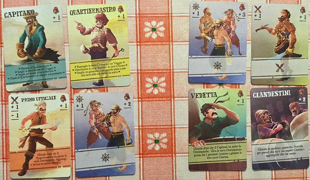 Ammutinamento!!! Questa volta il Capitano ha perso (sommate i valori delle teste in alto a destra di ogni carta), anche se il Quartiermastro si era schierato dalla sua parte.