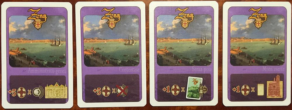 Alcuni esempi di carta Obiettivo: il set di icone che indica i bonus richiede un discreto sforzo interpretativo.