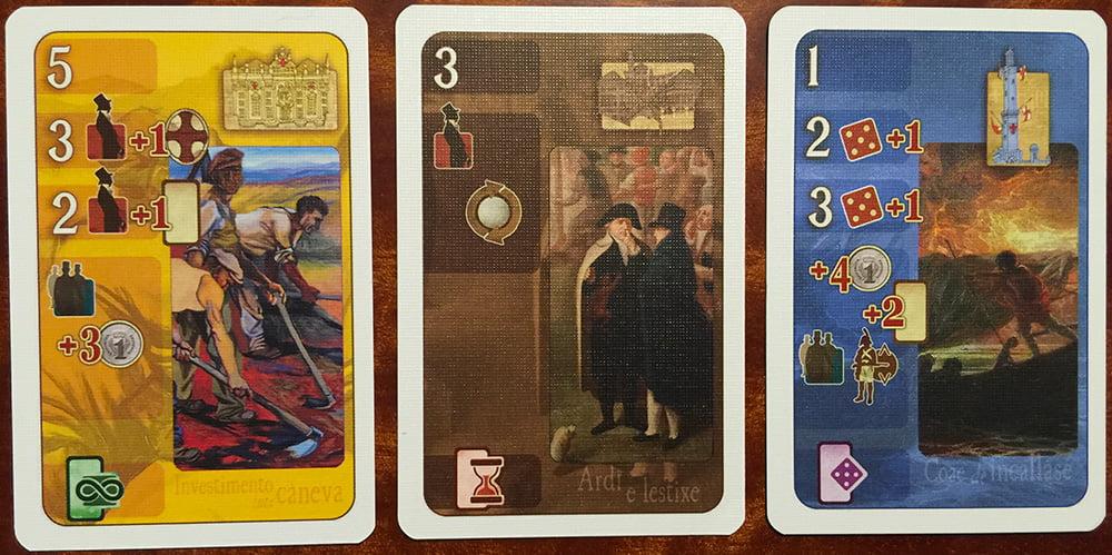 Le tre diverse tipologie di carte Azione (da sinistra verso destra):