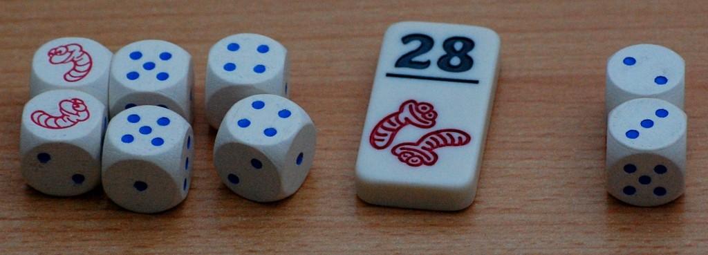 """Terzo tiro: adesso abbiamo preso due """" 4"""". Il nostro totale è 28 (nel secondo tiro avevamo due 5""""). Ci fermiamo e decidiamo di prendere la tessera """"28"""""""
