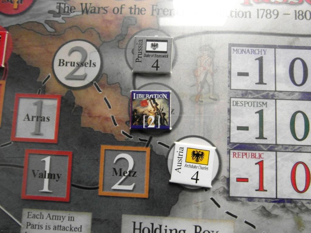 Se Brunswick vuole avanzare deve prima sconfiggere la prode Liberation Army: un compito non così arduo per il Duca, bastandogli un 3+ al dado.