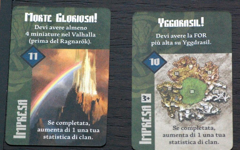 Le carte impresa di conquista e quelle che celebrano i morti in battaglia garantiscono più o meno lo stesso numero di punti vittoria.