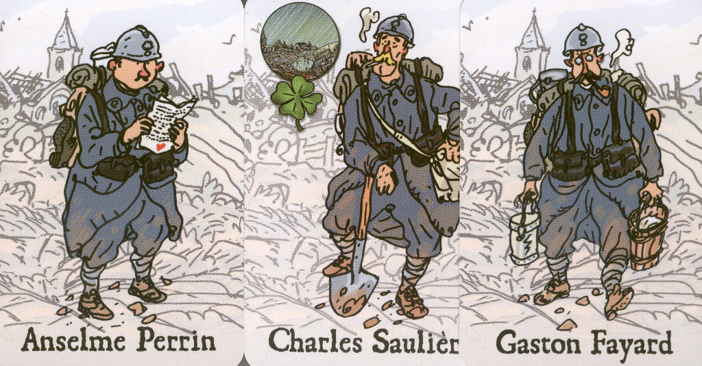 """nel le carte che raffigurano i 6 amici protagonisti del gioco hanno un lato """"fortunato"""" e un lato """"esausto""""."""