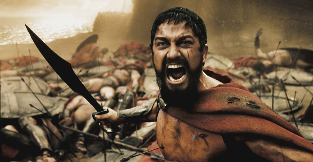 "A wounded Leonidas (GERARD BUTLER) roars his defiance at the Persian invaders in Warner Bros. Pictures', Legendary Pictures' and Virtual Studios' action drama ""300,"" distributed by Warner Bros. Pictures. PHOTOGRAPHS TO BE USED SOLELY FOR ADVERTISING, PROMOTION, PUBLICITY OR REVIEWS OF THIS SPECIFIC MOTION PICTURE AND TO REMAIN THE PROPERTY OF THE STUDIO. NOT FOR SALE OR REDISTRIBUTION"