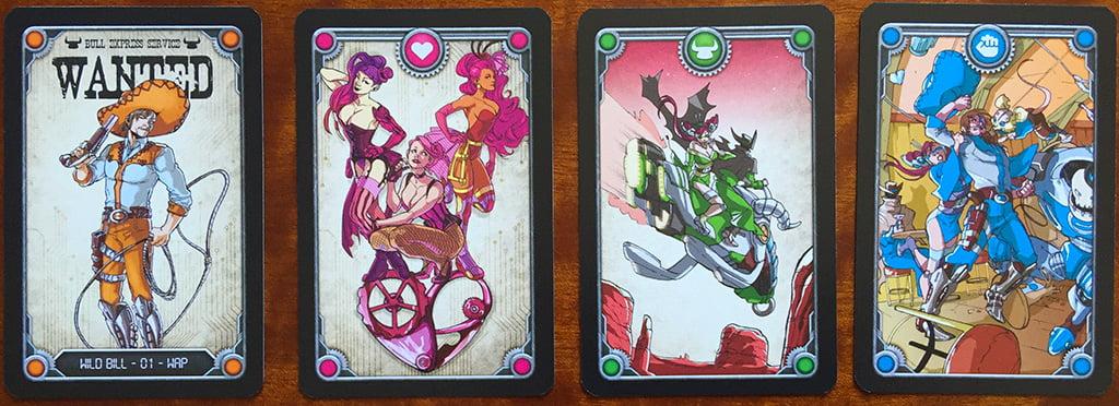 Esaminiamo una serie di carte speciali: wanted, ballerine, fuga e rissa (notare che queste ultime due sono nei colori che contraddistinguono le varianti dei banditi, mentre le prime due sono - per così dire - neutre).