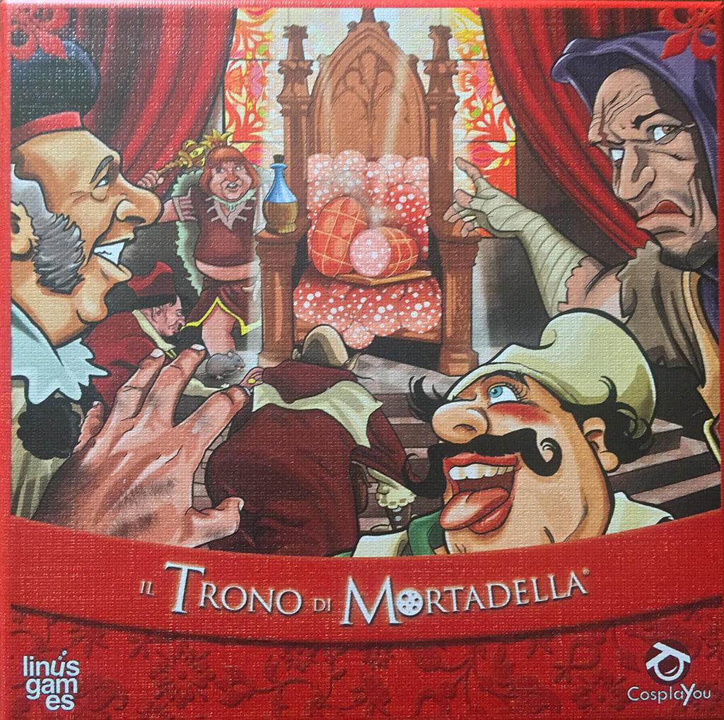 """La copertina del gioco (con la mortadella """"seduta"""" sul trono al centro)."""
