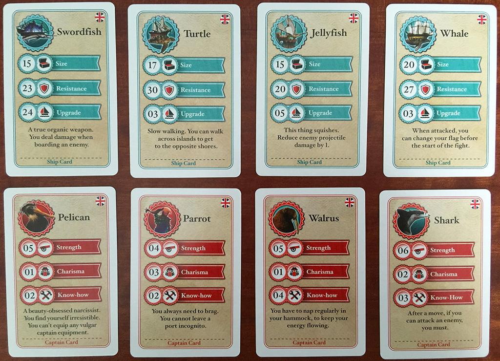 Le carte riepilogo per le navi (in alto) e per i capitani (in basso).