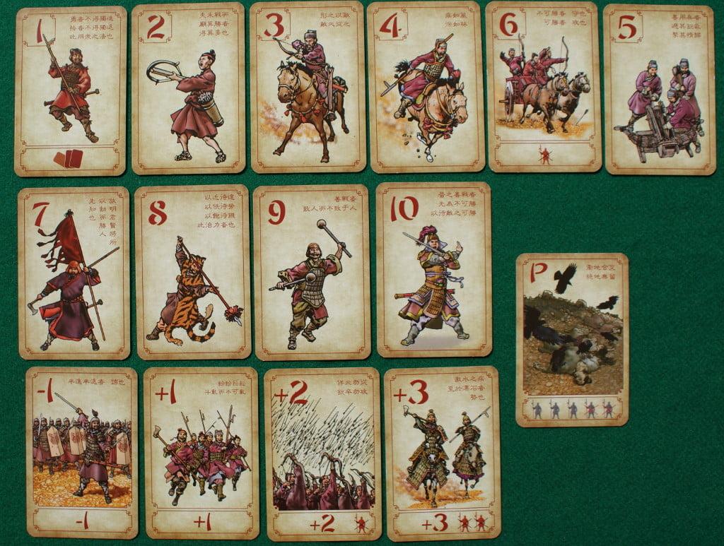 Le carte a disposizione di ogni giocatore : le 6 in alto sono quelle di partenza e possono essere giocate più volte