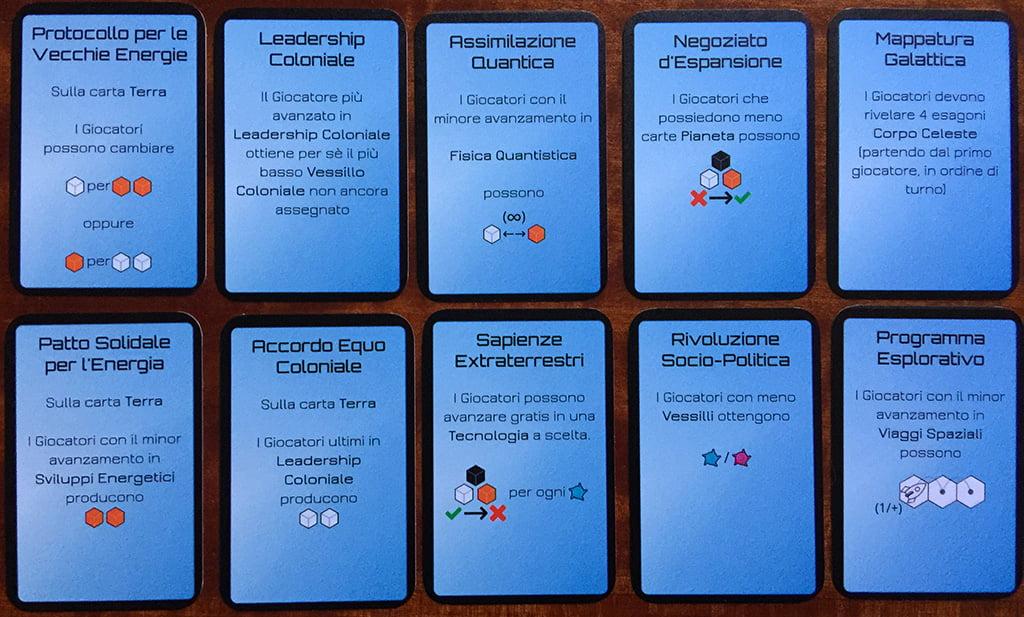 Alcuni esempi di carte evento: