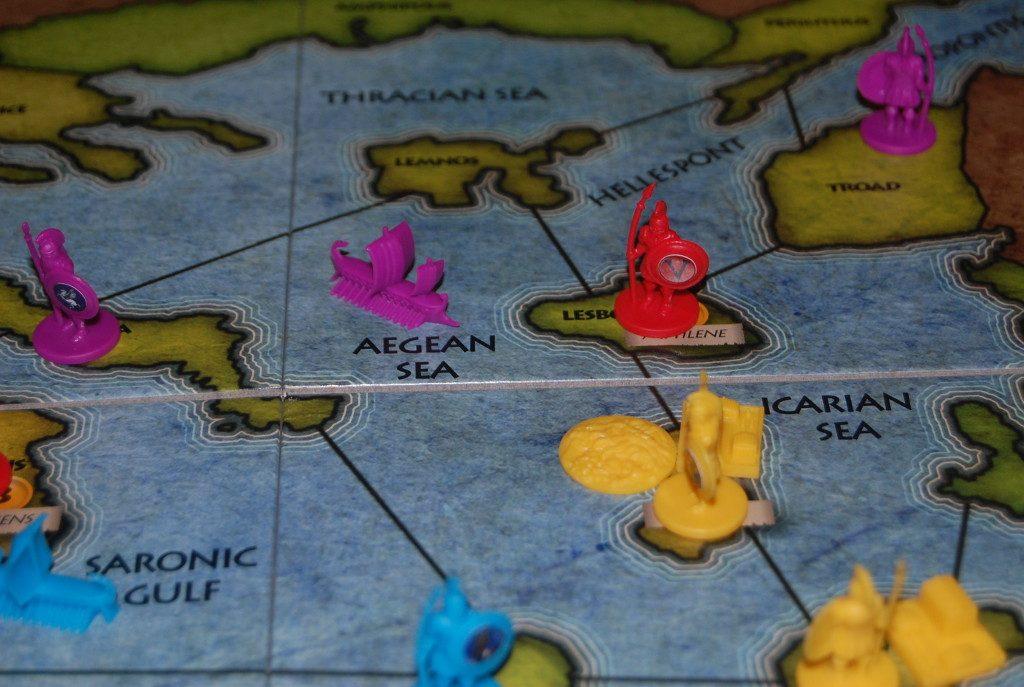 Un esempio complicato di rifornimento: gli alleati (rosso e viola) collaborano