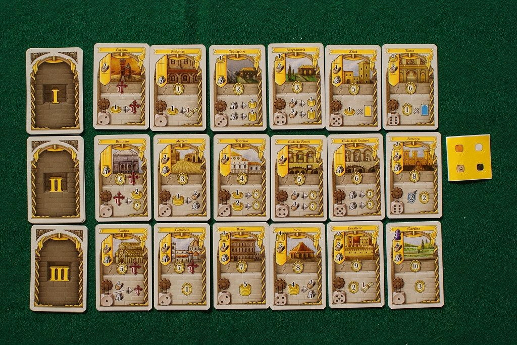 """Le carte sviluppo """"gialle"""", prese come esempio, mostrano le caratteristiche che i giocatori dovranno tenere ben presente in partita."""