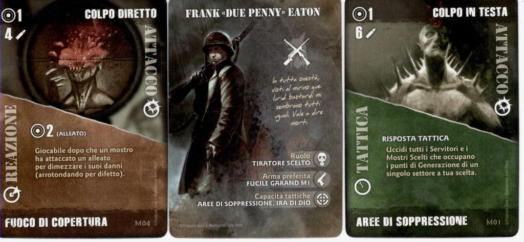 Un personaggio con alcune sue carte