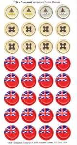 """Un po' di segalini: in alto i """"centri di raccolta"""", poi i fortini e, in basso i segnalini """"controllo"""" che, sul retro, hanno la bandiera francese"""