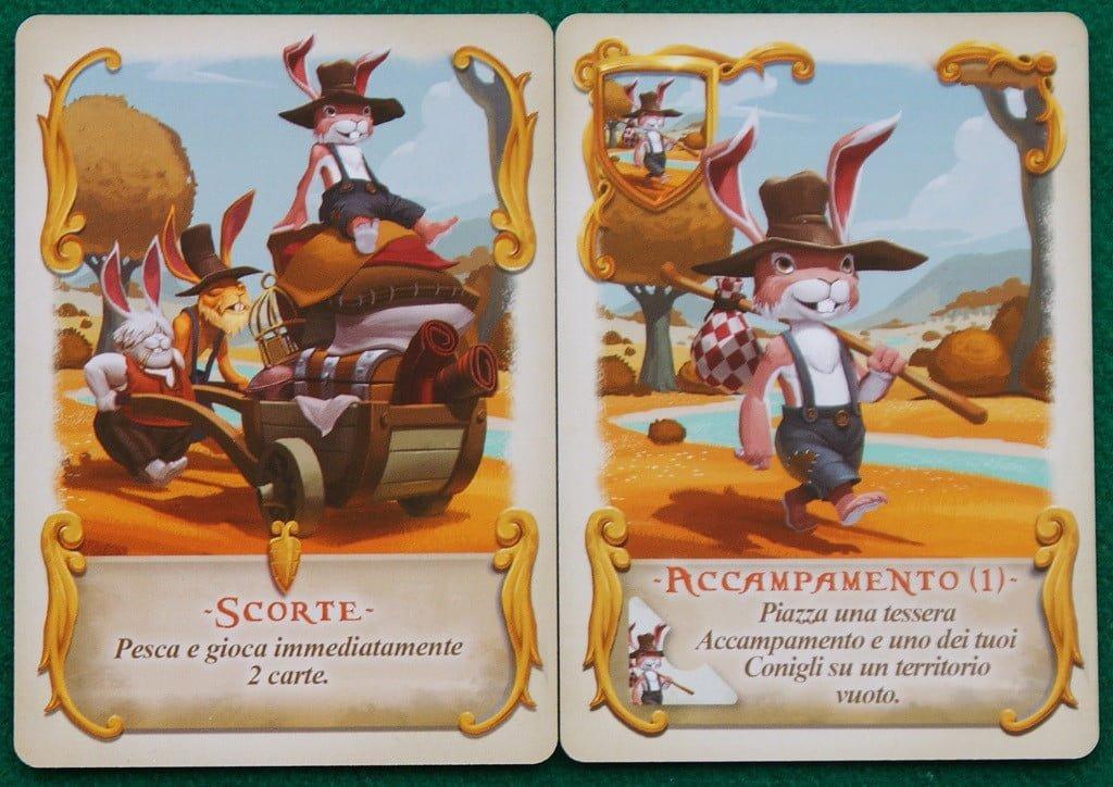 """le carte """"Scorte"""" ed """"Accampamento""""."""