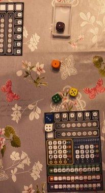 Rilanciati i 4 dadi rimasti, sceglie il 4 bianco e aggiunge un'altra crocetta nell'area blu sul 7. Dopodiché scarta il dado arancione di valore inferiore.