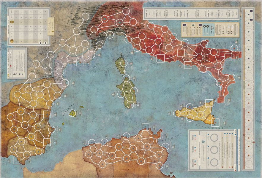La mappa del Mediterraneo che sarà il teatro della Seconda Guerra Punica
